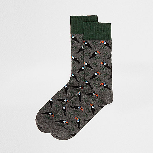 Grey toucan ankle socks