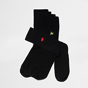 Black animal embroidery socks multipack