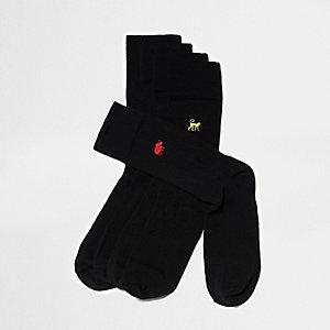Schwarze Socken mit Tierstickerei, Multipack