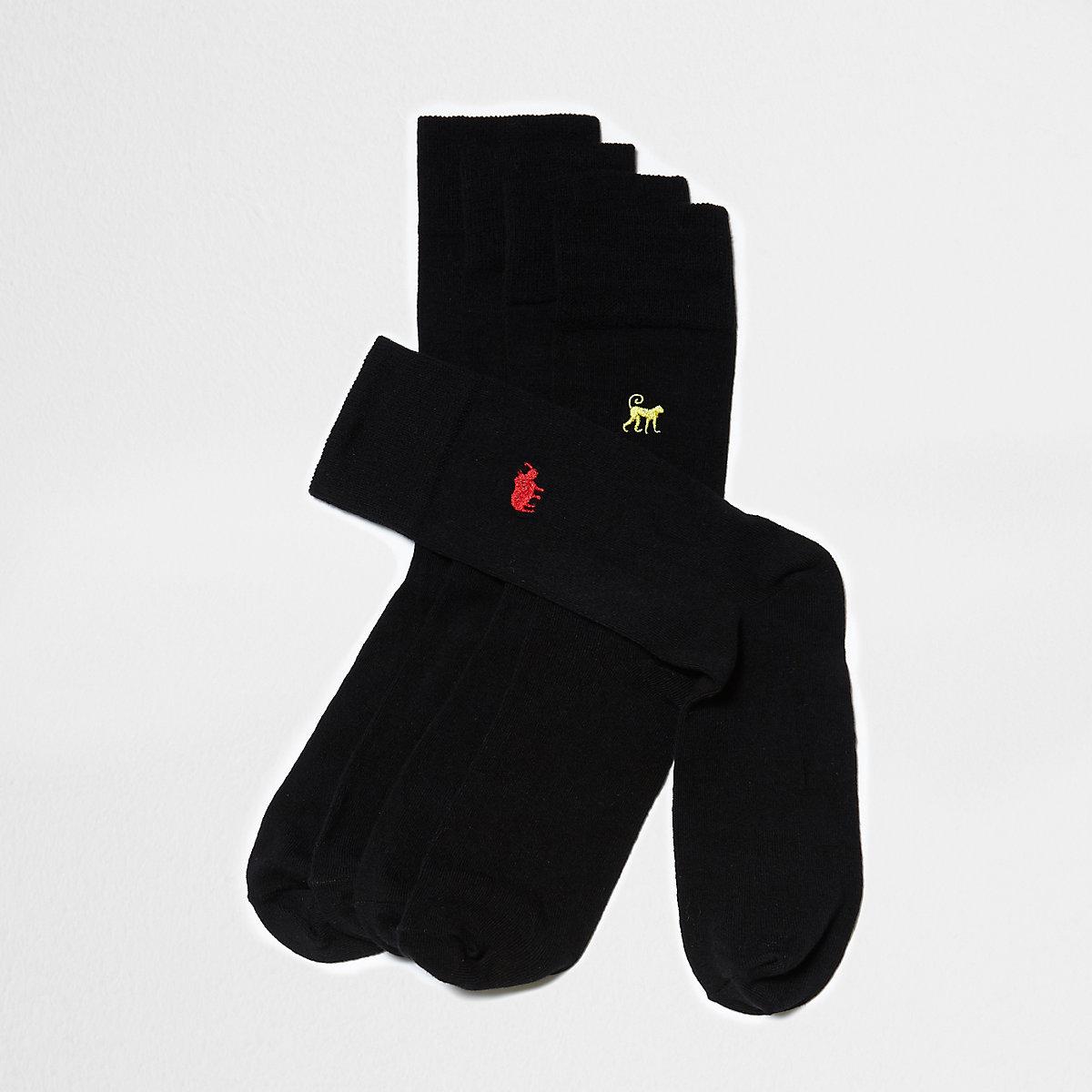 Lot de5 paires de chaussettes noires à animaux brodés