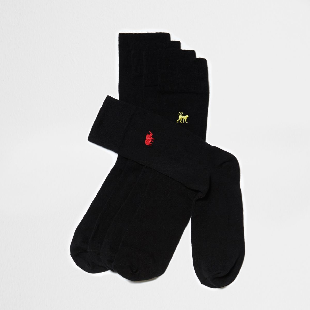Lot de chaussettes noires avec motif animal brodé