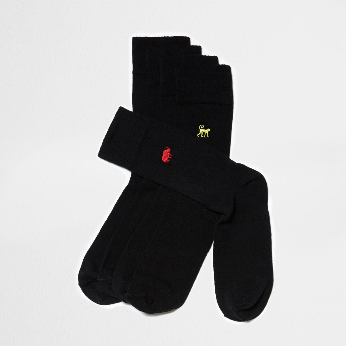 Big and Tall - Multipack geborduurde sokken met dierenprint