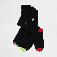 Black animal icon embroidery socks multipack