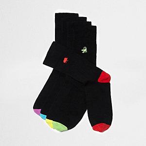 Multipack zwarte sokken met geborduurde dierenpictogrammen