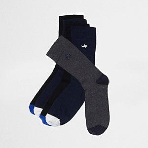 Blaue Socken mit Tierstickerei, Multipack