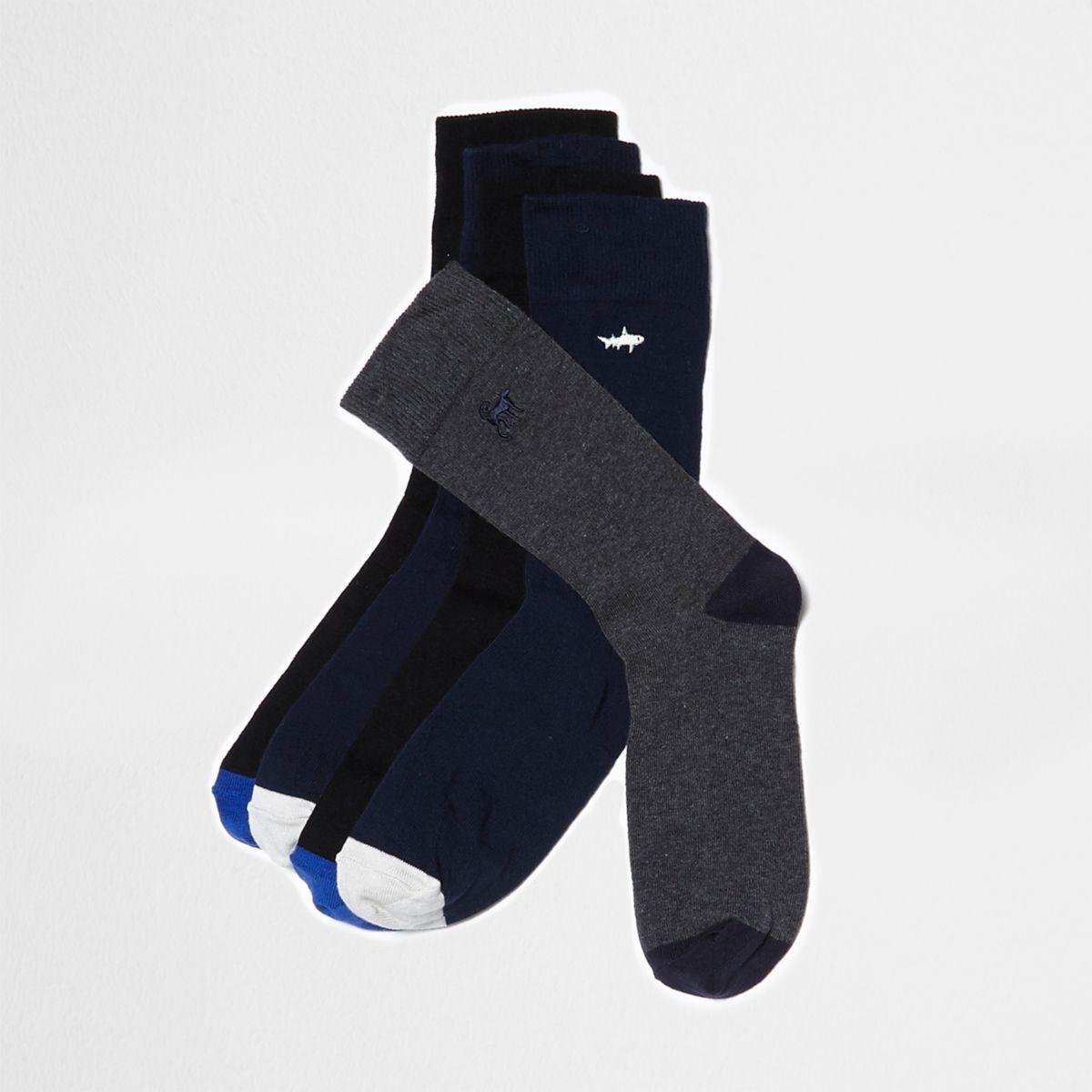 Lot de chaussettes bleues motif animal brodé