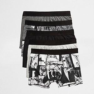 Multipack grijze strakke boxers met zwart-wit fotoprint