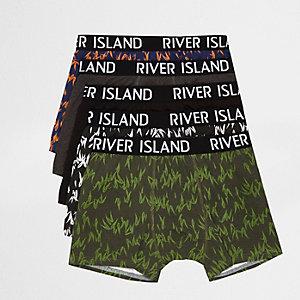 Multipack blauwe strakke boxers met print