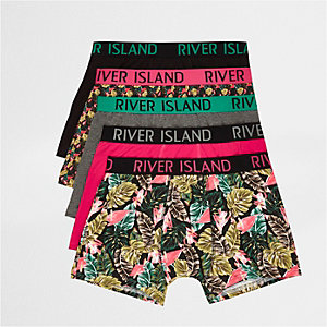 Multipack met roze strakke boxers met palmprint