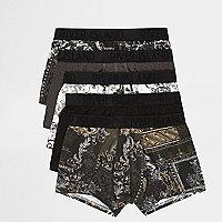 Schwarze Hipster-Slips mit Barockmuster, Multipack