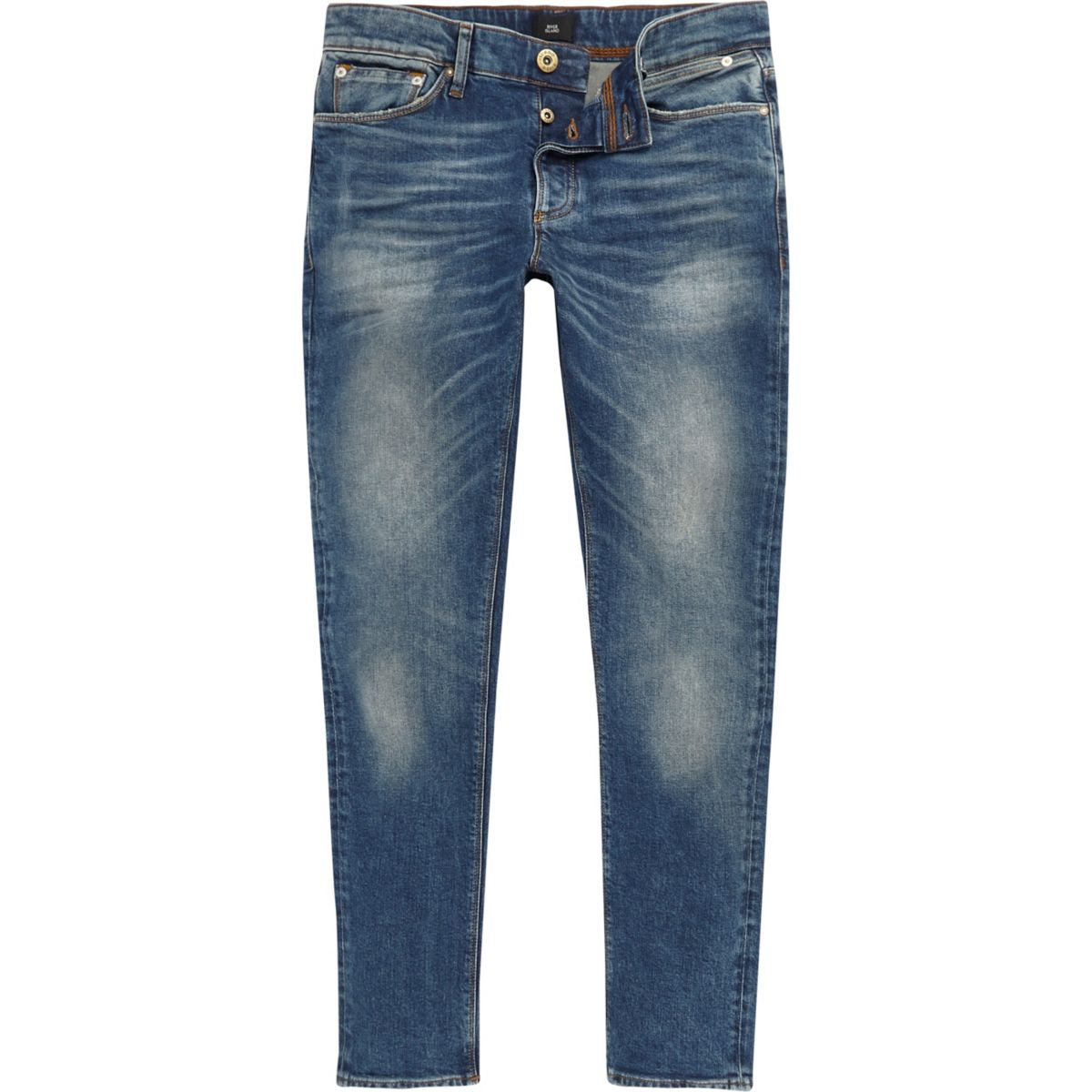 Mid blue Sid faded skinny jeans