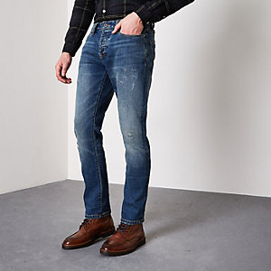 Dylan - Donkerblauwe ripped slim-fit jeans