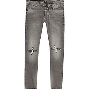 Sid - Grijze skinny jeans met gescheurde knie