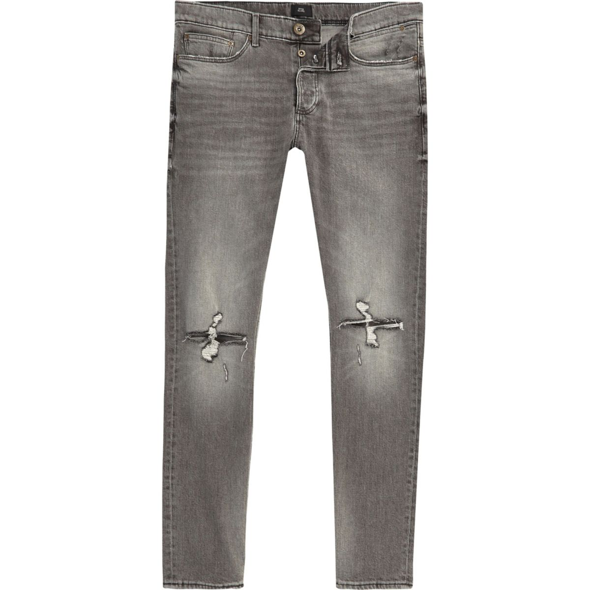 Grey Sid ripped knee skinny jeans
