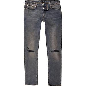 Sid – Dunkelblaue, vorgewaschene Skinny Jeans