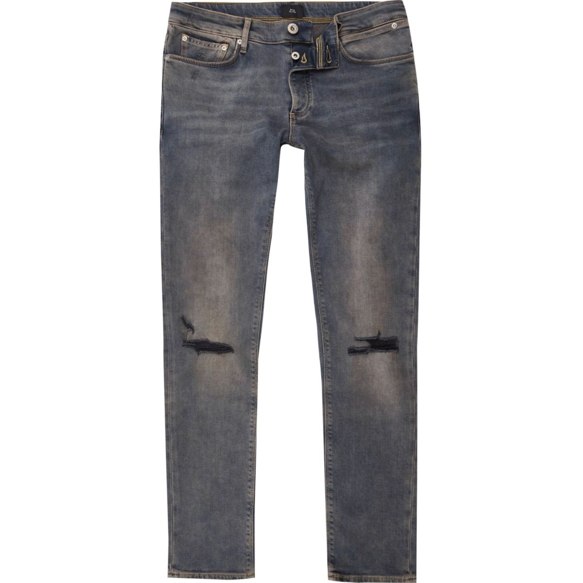 Washed dark blue ripped knee Sid skinny jeans