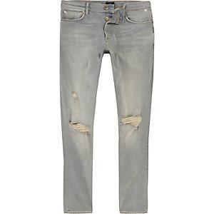 Sid – Hellblaue, vorgewaschene Skinny Jeans im Used-Look