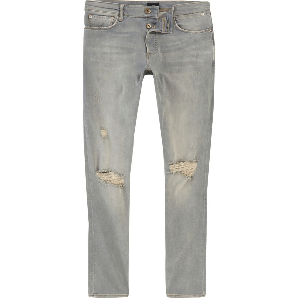 Washed light blue ripped Sid skinny jeans