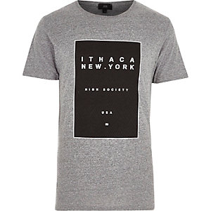 Grey marl 'New York' box print T-shirt