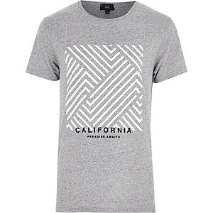 T-shirt à imprimé rectangulaire « California » gris chiné
