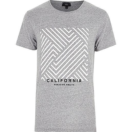 Grey marl 'California' box print T-shirt