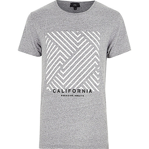 Grey marl 'California' box print T-shirt