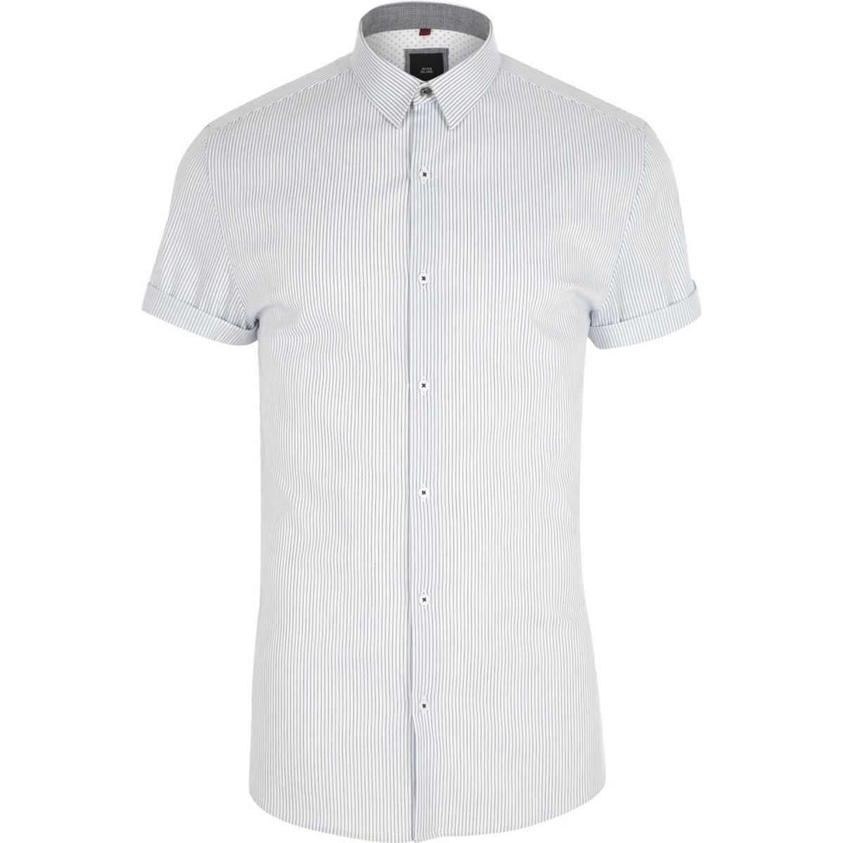 White stripe muscle fit short sleeve shirt