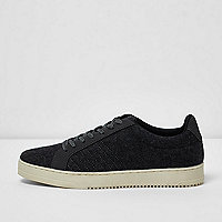 Dark grey wool blend lace-up sneakers