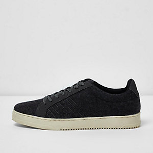 Dark grey wool blend lace-up trainers