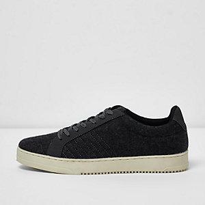 Dunkelgraue Sneaker zum Schnüren aus Wollmischung