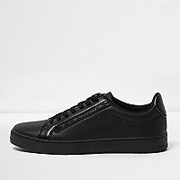 Black textured faux leather lace-up trainers