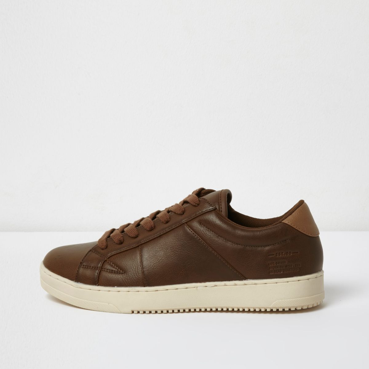 Tan lace-up sneakers