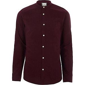 Bordeauxrood slim-fit overhemd zonder kraag met lange mouwen