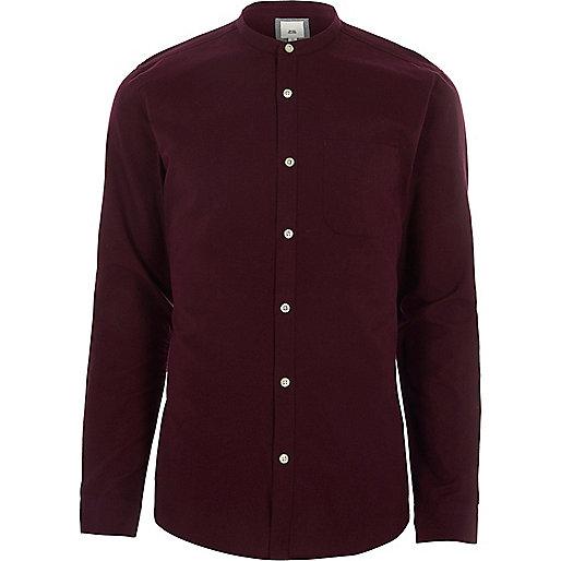 Burgundy long sleeve slim fit grandad shirt
