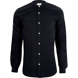 Marineblaues, langärmliges Slim Fit Grandad-Hemd