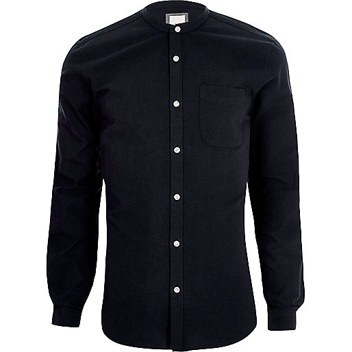 Navy long sleeve slim fit grandad shirt