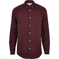 Burgunduy long sleeve slim fit Oxford shirt