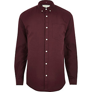 Burgundy slim fit button-down Oxford shirt