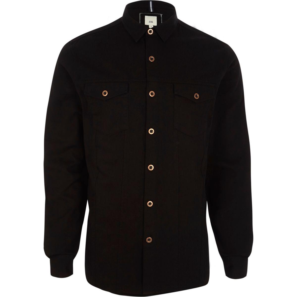 Black button-up overshirt