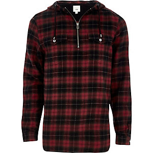 Red check zip front hooded shirt