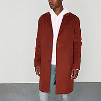 Dark orange cocoon coat