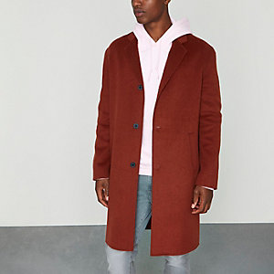 Manteau cocon orange foncé