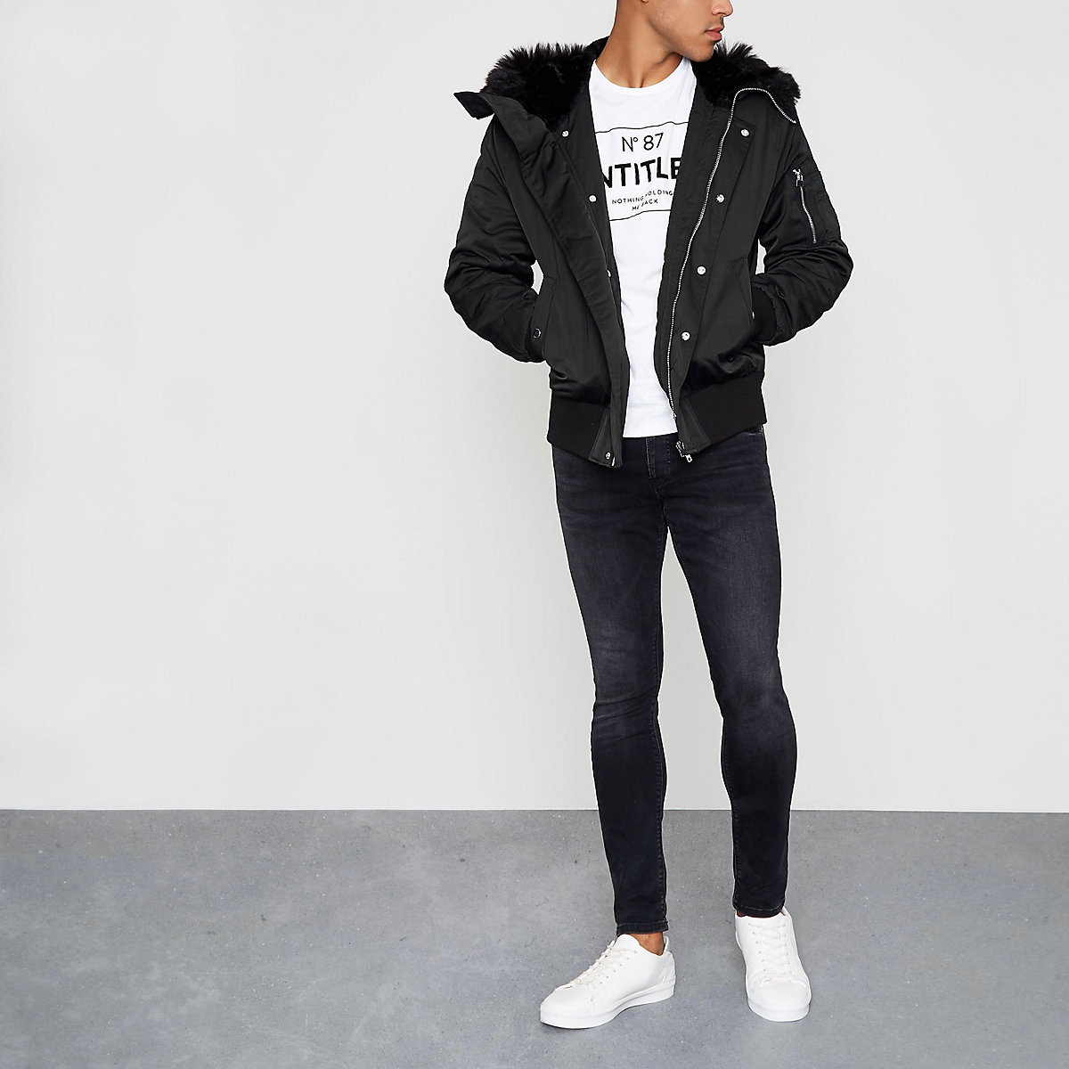 Black faux fur trim hooded jacket