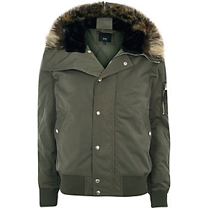 Khaki green faux fur trim hood zip-up jacket
