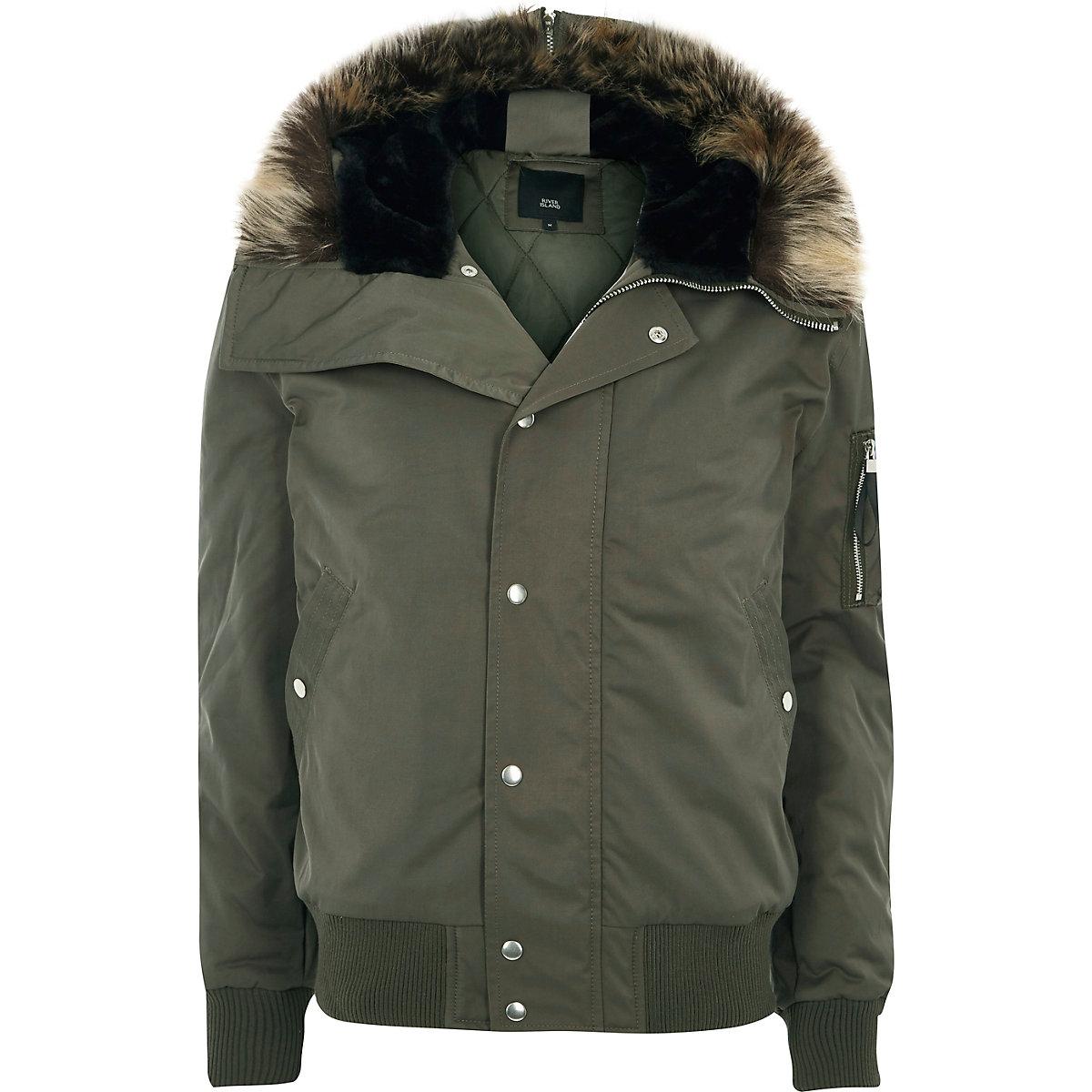 Khaki green faux fur trim hooded jacket