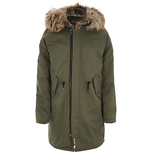 Khaki green faux fur trim hooded parka