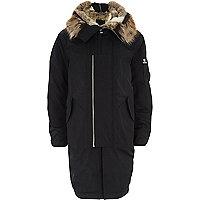 Black faux fur lined double zip hooded parka