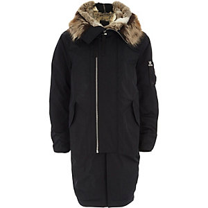 Navy faux fur lined double zip hooded parka