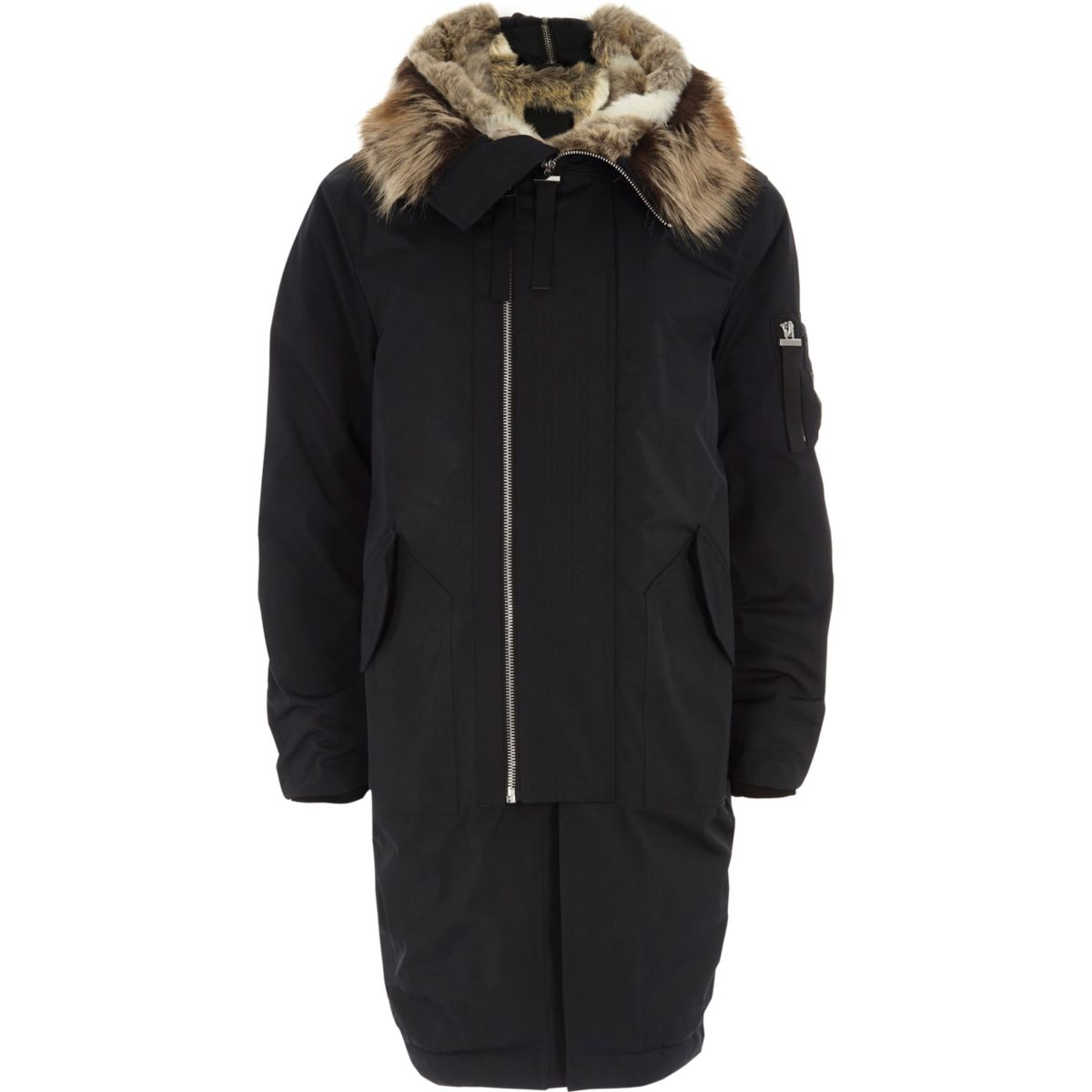 Black faux fur lined double zip hooded parka