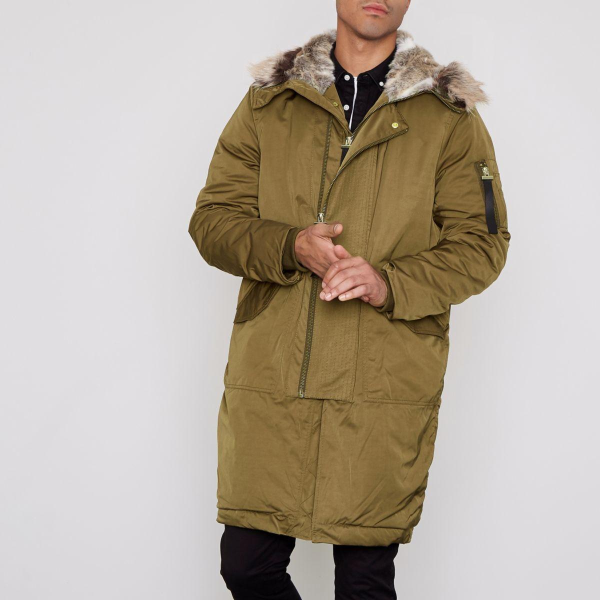 Khaki faux fur lined double zip hooded parka